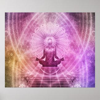 Zen espiritual da meditação da ioga colorido pôster