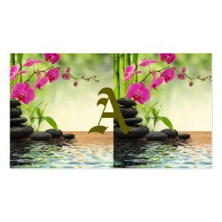zen, paz, orquídea cor-de-rosa, bonita, termas, cartão de visita