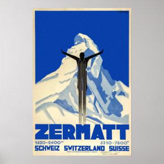 Zermatt, suiça, poster do esqui