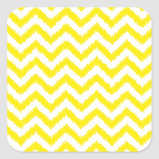 Ziguezague amarelo ensolarado do teste padrão de adesivo quadrado