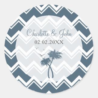 Ziguezague azul e palmeiras da viga que Wedding a Adesivo