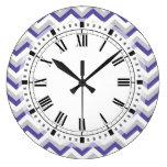 Ziguezagues azuis roxos geométricos elegantes de C Relógio Para Parede