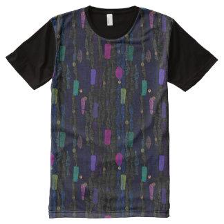 Ziguezagues verticais das linhas um abstrato camisetas com impressão frontal completa