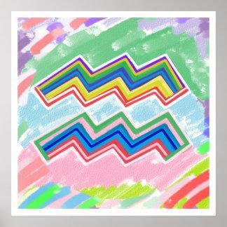 Zodíaco AQUARIOUS birthstar - arte acrílica em Cor Poster