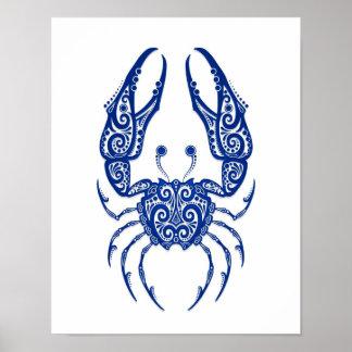 Zodíaco azul intrincado do cancer no branco impressão