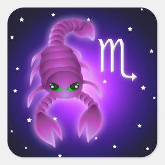 Zodíaco bonito da Escorpião Adesivo Quadrado