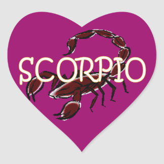Zodíaco da Escorpião Adesivo Coração