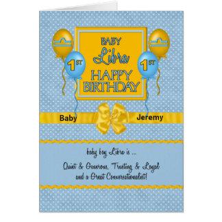 Zodíaco do primeiro aniversario do Libra do bebé Cartão