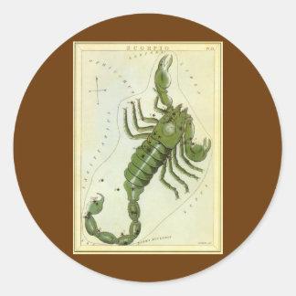 Zodíaco do vintage, constelação da Escorpião da Adesivo Redondo