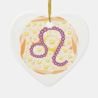 Zodíaco Leo de GoodLuck Ornamento De Cerâmica Coração