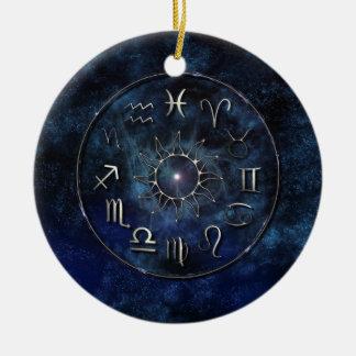Zodíaco Ornamento De Cerâmica Redondo