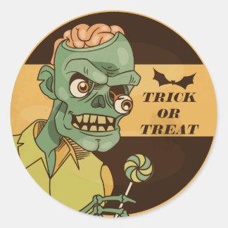Zombi assustador com selo da etiqueta do vintage |