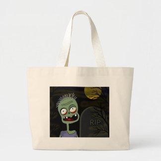 Zombi do Dia das Bruxas - estilo dos desenhos Bolsa Tote Grande