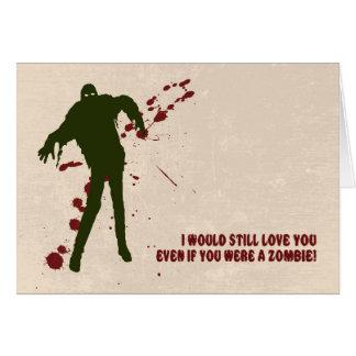 Zombi engraçado com o cartão do dia dos namorados