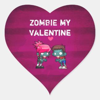 Zombi meu bonito assustador dos namorados adesivo coração