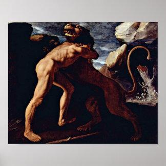 Zurbaran de Francisco - Hercules mata o leão Pôster