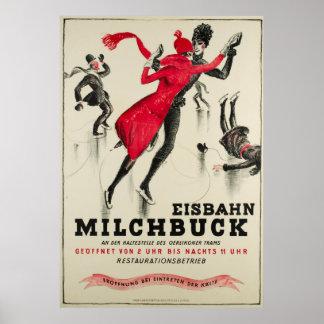 Zürich, poster vintage de Eisbahn Milchbuck